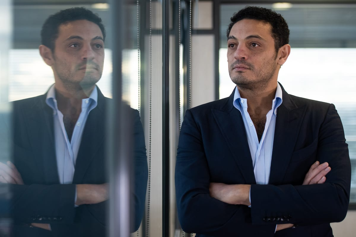 Egyptian self-exiled businessman Mohamed Ali poses during an interview in an office near Barcelona on October 23, 2019 [JOSEP LAGO/AFP via Getty Images]