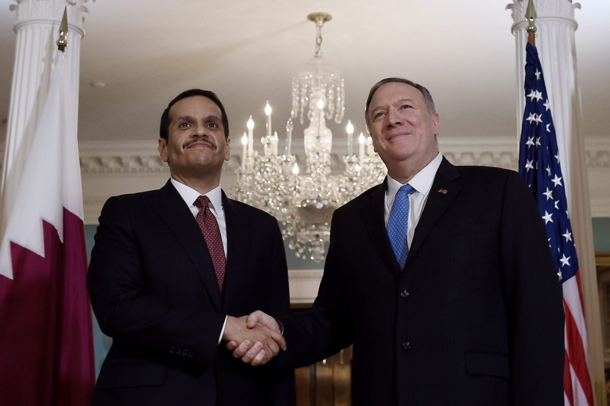 US Secretary of State Mike Pompeo (R) meets with Qatari Deputy Prime Minister and Minister of Foreign Affairs Sheikh Mohammed bin Abdulrahman Al-Thani, at the State Department in Washington DC, on November 12, 2019 [OLIVIER DOULIERY/AFP via Getty Images]