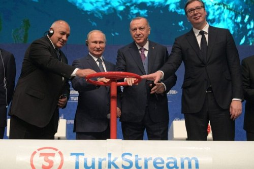 "From L: Bulgarian Prime Minister Boyko Borisov, Russian President Vladimir Putin, Turkish President Recep Tayyip Erdogan and Serbian President Aleksandar Vucic attend an inauguration ceremony of a new gas pipeline ""TurkStream"" on January 8, 2020 in Istanbul [ALEXEY DRUZHININ/SPUTNIK/AFP via Getty Images]"