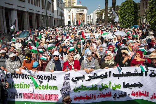 Moroccans march during a demonstration against the US Middle East peace plan in the capital Rabat on 9 February 2020. [FADEL SENNA/AFP via Getty Images]