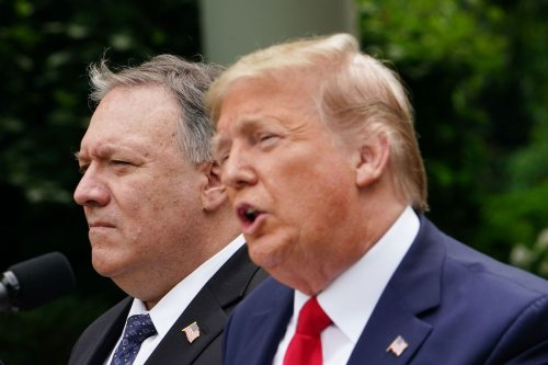 US President Donald Trump, with US Secretary of State Mike Pompeo, holds a press conference on China on 29 May 2020, in the Rose Garden of the White House in Washington, DC. [MANDEL NGAN/AFP via Getty Images]