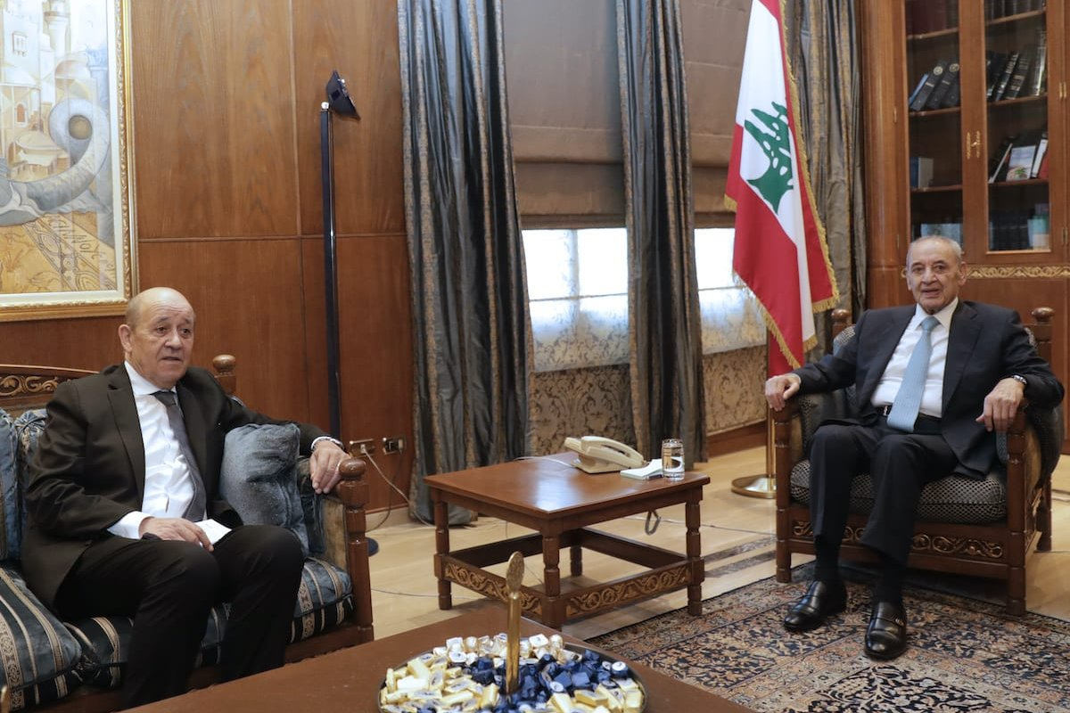 Lebanon's Parliament Speaker Nabih Berri (R) receives French Minister of Europe and Foreign Affairs Jean-Yves Le Drian at Ain el-Tineh palace in the capital Beirut on 23 July 2020. [ANWAR AMRO/AFP via Getty Images]