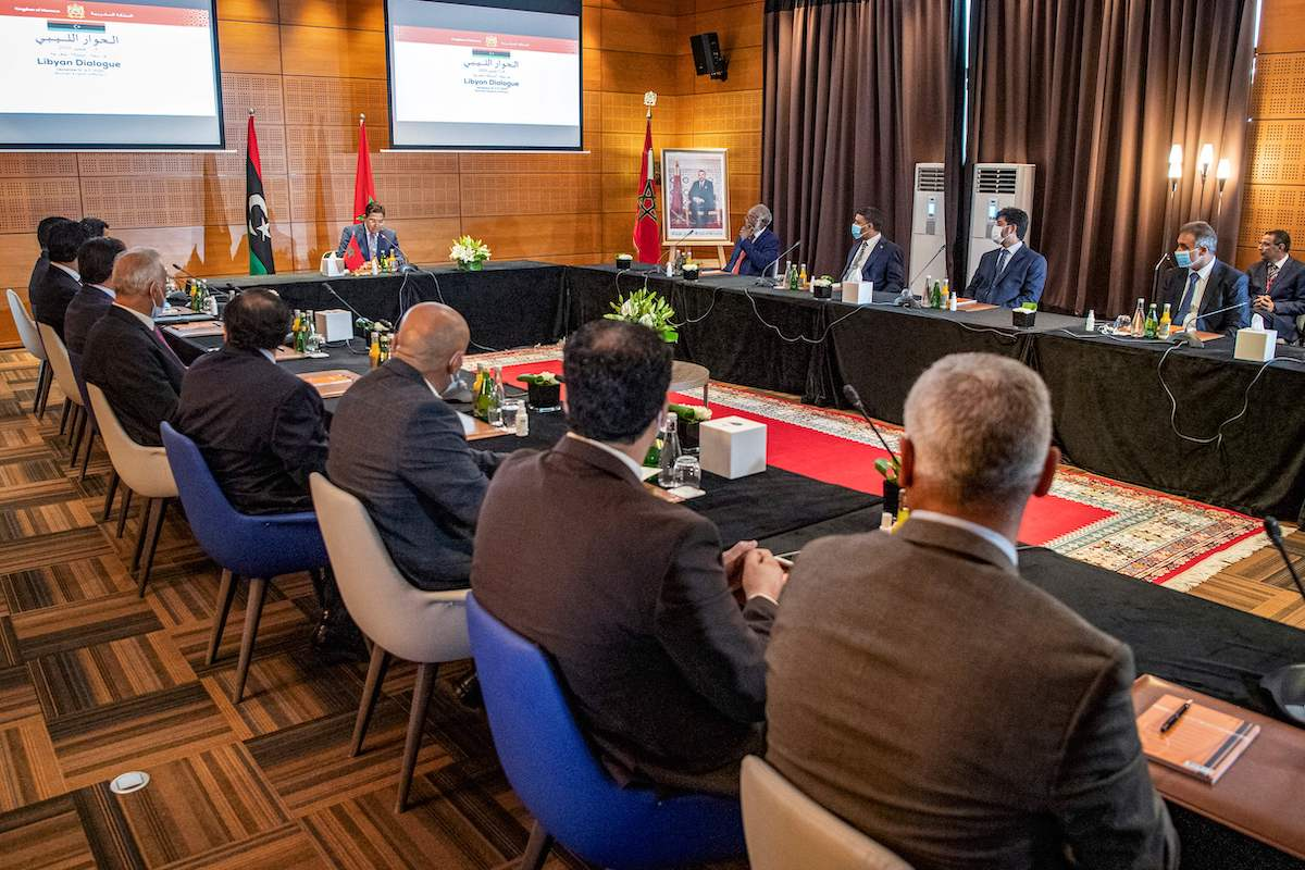 Nasser Bourita, Morocco's Minister of Foreign Affairs and International Cooperation, chairs a meeting of representatives of Libya's rival administrations in the coastal town of Bouznika, south of Rabat, on 6 September 2020. [FADEL SENNA/AFP via Getty Images]