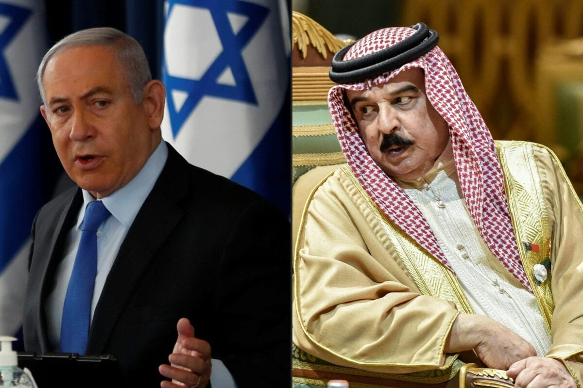 This combination of pictures created on September 11, 2020 shows (L) Israeli Prime Minister Benjamin Netanyahu chairing the weekly cabinet meeting in Jerusalem on June 28, 2020, and (R) King Hamad bin Isa Al Khalifa of Bahrain, speaking with another delegate during the 40th Gulf Cooperation Council (GCC) summit held at the Saudi capital Riyadh on December 10, 2019 [RONEN ZVULUN,FAYEZ NURELDINE/AFP via Getty Images]