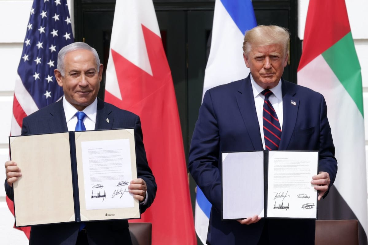 Prime Minister of Israel Benjamin Netanyahu and US President Donald Trump in the White House on September 15, 2020 in Washington, DC [Alex Wong/Getty Images]