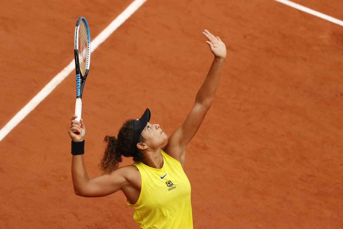 Mayar Sherif of Egypt serves during her Women's Singles first round match against Karolina Pliskova of Czech Republic on day three of the 2020 French Open at Roland Garros on September 29, 2020 in Paris, France [Clive Brunskill/Getty Images]