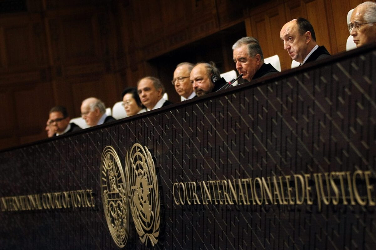 Members of the jurysit in the International Court of Justice in The Hague, The Netherlands, on January 27, 2014 [BAS CZERWINSKI/AFP via Getty Images]