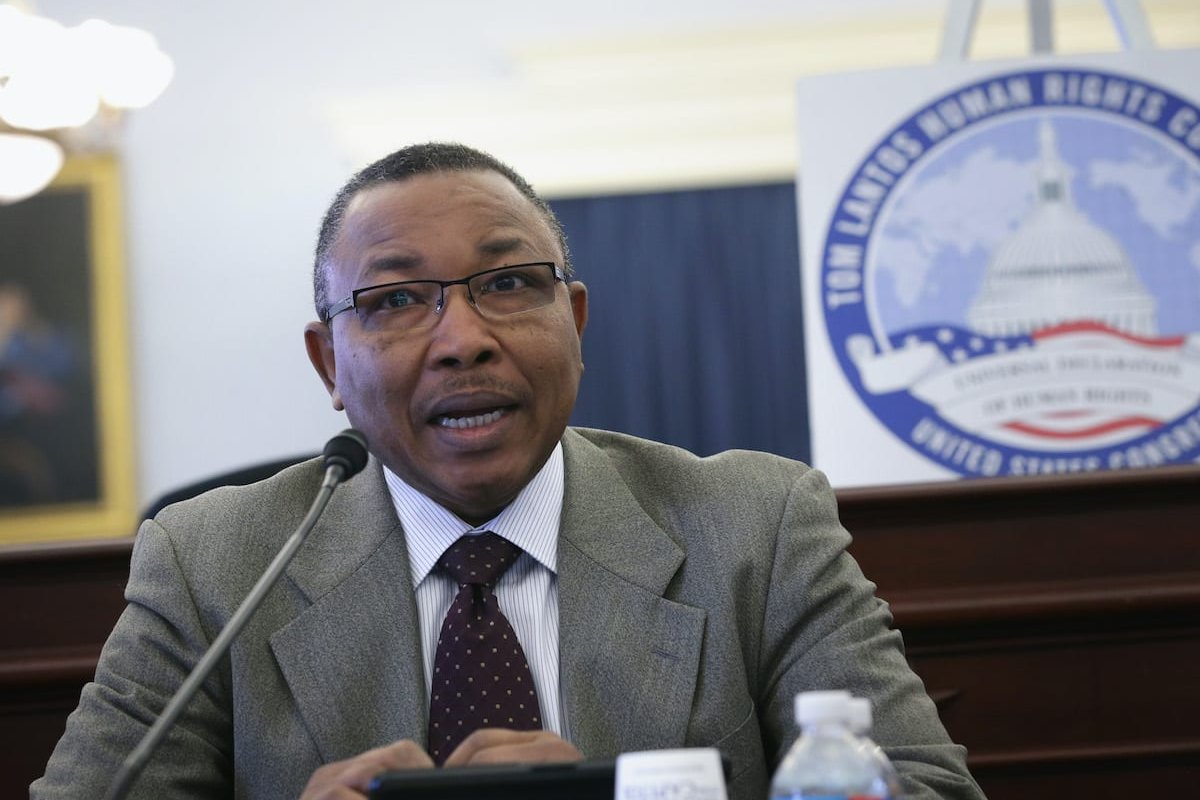 Omer Ismail, Sudan's Acting Minister of Foreign Affairs, speaks during a briefing on Sudan 20 May 2014 on Capitol Hill in Washington, [DC. Alex Wong/Getty Images]