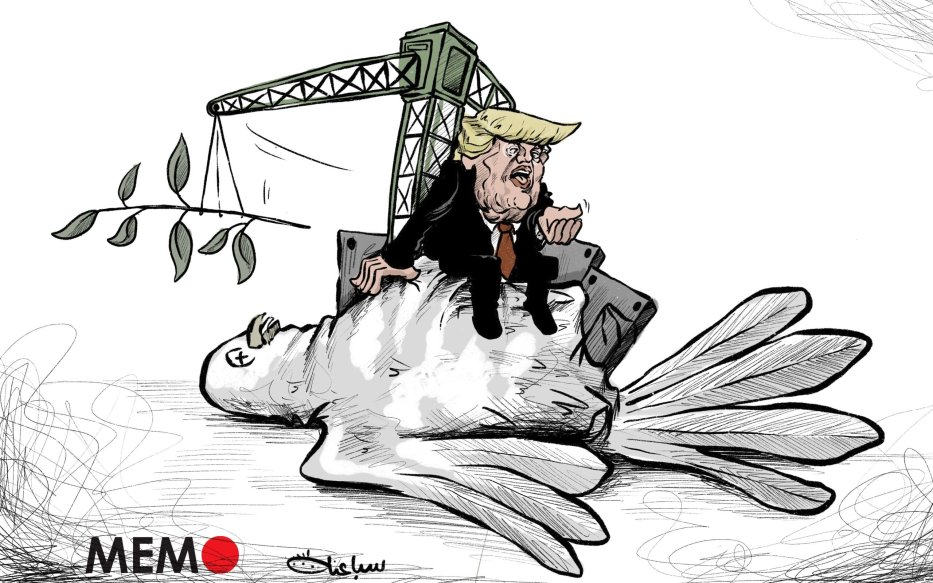 "US President Donald Trump has hailed the ""dawn of a new Middle East"" and killed the peace process - Cartoon [Sabaaneh/MiddleEastMonitor]"