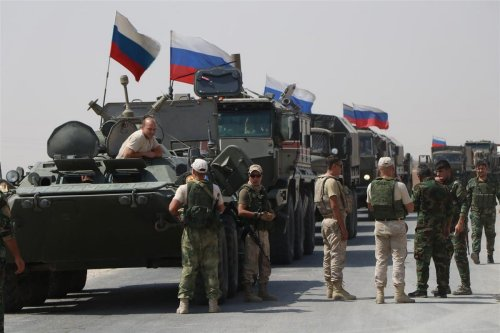 Russian military vehicles drive on the road as Russia makes a new military and logistic reinforcement of 30 vehicles to its military points in Kamisli in Kamisli, Syria on 14 September 2020. [Samer Uveyd - Anadolu Agency]
