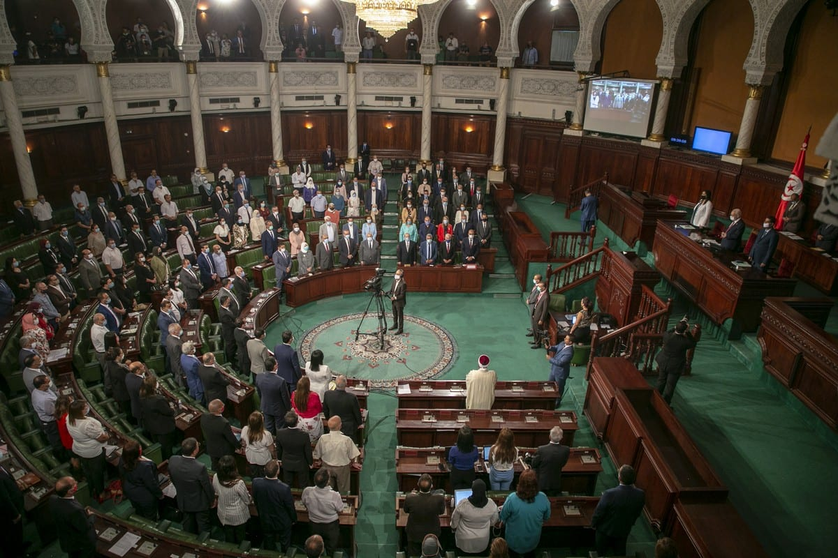 A view of Tunisian Parliament in session in Tunis, Tunisia on 1 September 2020 [Yassine Gaidi/Anadolu Agency]