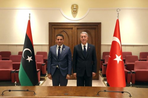 Minister Of National Defence of Turkey, Hulusi Akar (R) and Minister of Defence of Libya, Salah Eddine al-Namrush (L) pose for a photo during their meeting in Ankara, Turkey on September 01, 2020 [Ministry Of National Defence/Anadolu Agency]
