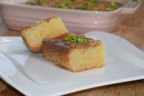 Thumbnail: Basbousa with condensed milk