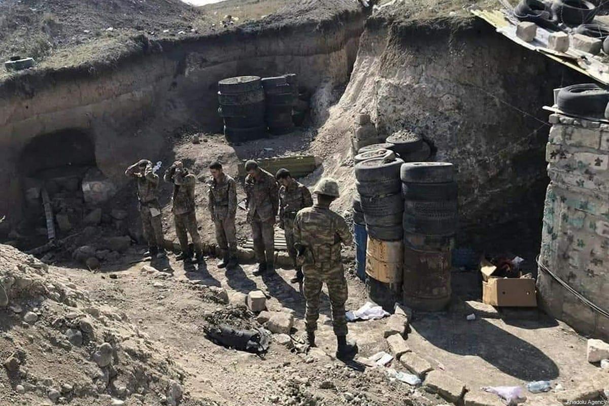 Armenian soldiers in Azerbaijan on 3 October 2020 [Anadolu Agency]
