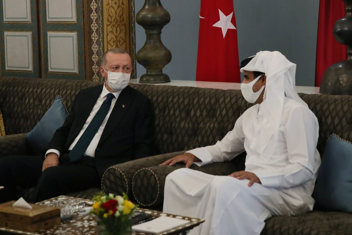 President of Turkey, Recep Tayyip Erdogan meets Emir of Qatar Sheikh Tamim bin Hamad Al Thani during his visit in Doha, Qatar on October 07, 2020 [Murat Kula - Anadolu Agency]