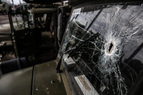 YEVLAKH, AZERBAIJAN - OCTOBER 07: A bullet hole is seen on the window of an Armenian military vehicle, abandoned within the border clashes between Azerbaijan and Armenia on October 07, 2020 in Yevlakh, Azerbaijan. The Azerbaijani Armed Forces seized a large amount of weapons, ammunition and vehicles belonging to the Armenian military. ( Onur Çoban - Anadolu Agency )