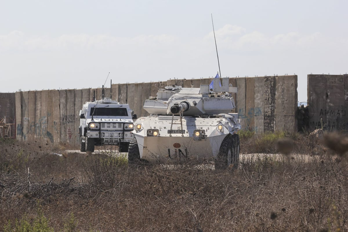 Vehicles of the UN peacekeeping force UNIFIL are seen as they stand guard upon arrival of Lebanese and Israeli committee, in the southernmost area of Naqoura, by the border with Israel, Naqoura, Lebanon on 14 October 2020. [Ali Abdo - Anadolu Agency]