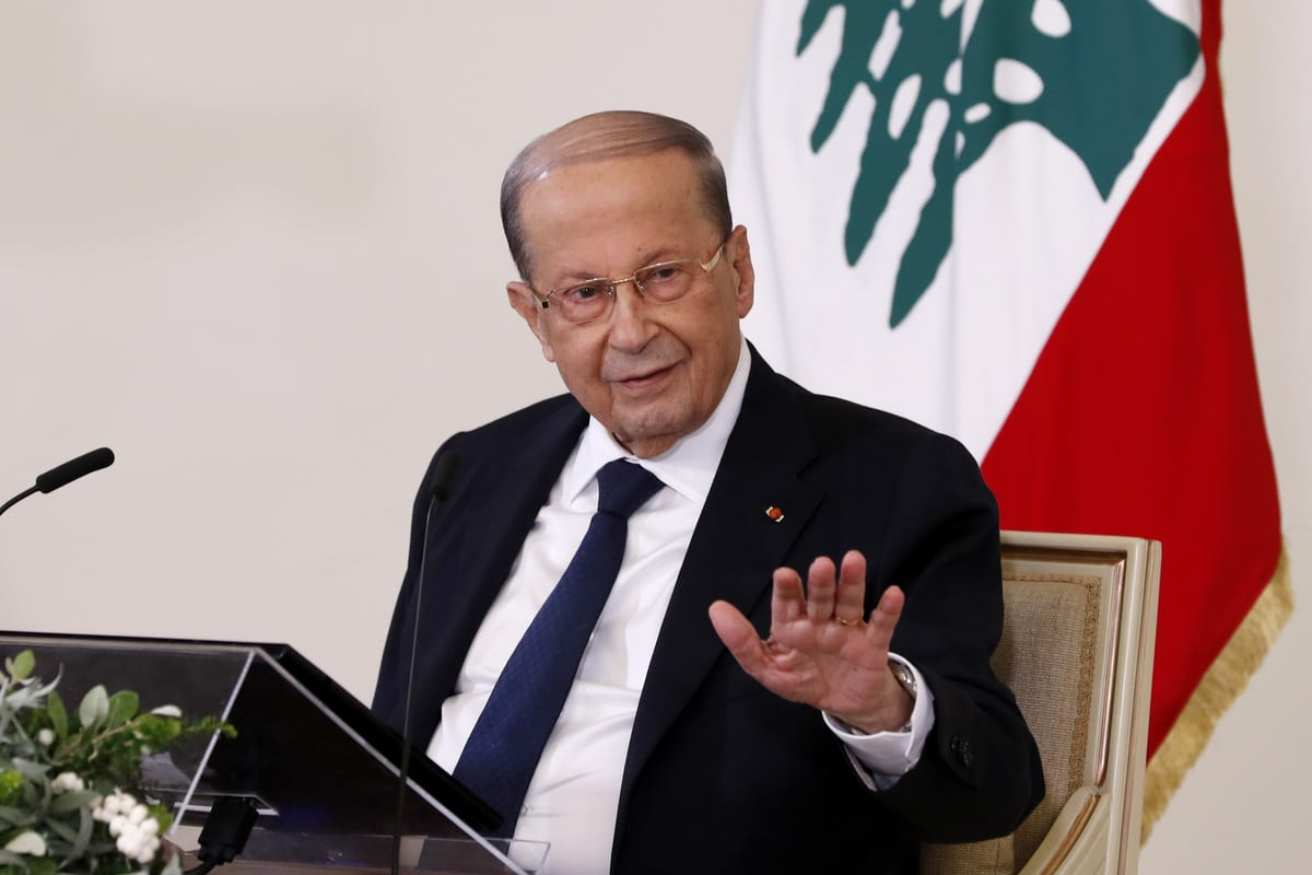 Lebanese President, Michel Aoun in Beirut, Lebanon on 21 October 2020 [Lebanese Presidency/Anadolu Agency]