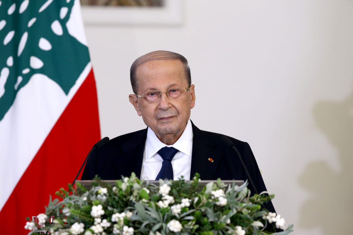 Lebanese President, Michel Aoun in Beirut, Lebanon on 21 October 2020. [Lebanese Presidency - Anadolu Agency]