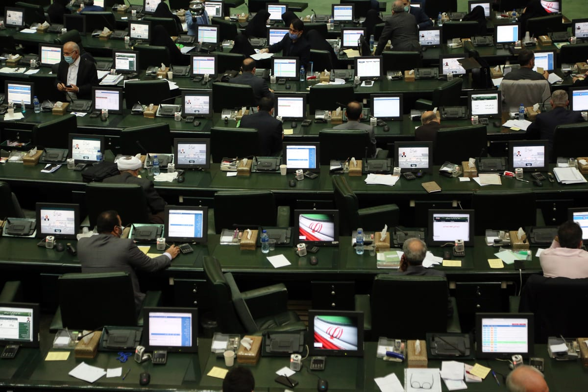 TEHRAN, IRAN - OCTOBER 22: A general view of Parliamentary session in Tehran, Iran on October 22, 2020. Iranian Members of the Parliament also follow the presidential elections of U.S. ( Fatemeh Bahrami - Anadolu Agency )