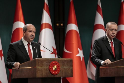 ANKARA, TURKEY - OCTOBER 26: President of Turkey Recep Tayyip Erdogan (R) and Turkish Republic of Northern Cyprus President Ersin Tatar (L) hold a joint press conference after their meeting at Presidential Complex in Ankara, Turkey on October 26, 2020. ( Metin Aktaş - Anadolu Agency )
