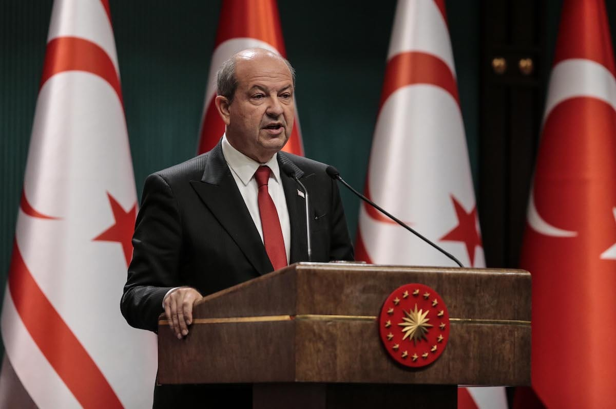 Turkish Republic of Northern Cyprus President Ersin Tatar holds a press conference a meeting at Presidential Complex in Ankara, Turkey on 26 October 2020. [Metin Aktaş - Anadolu Agency]