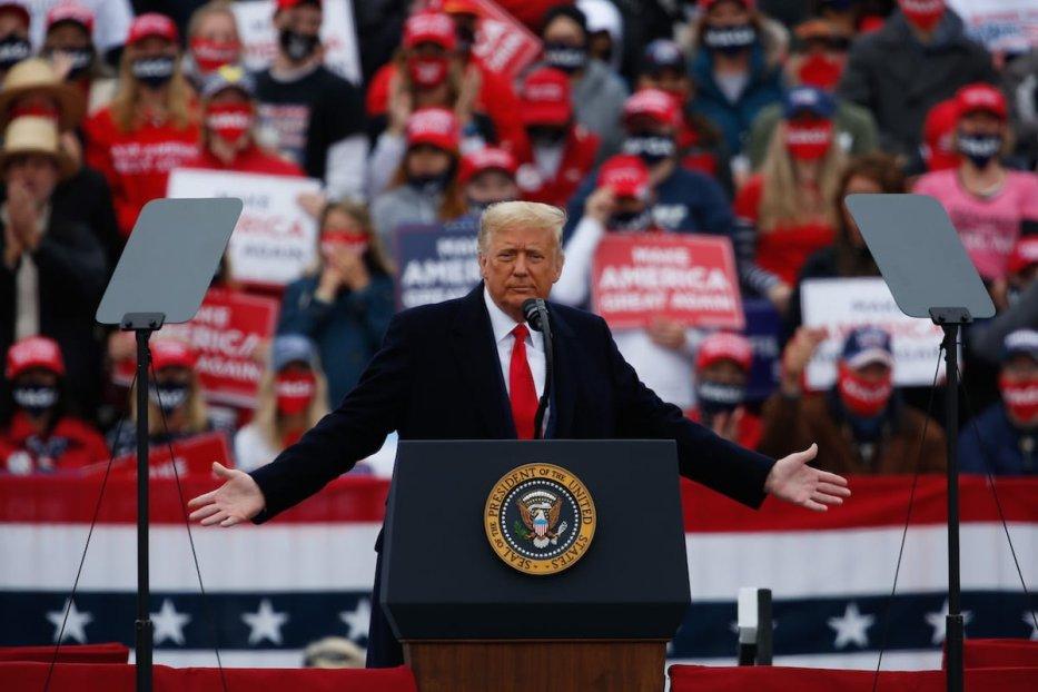 U.S. President Donald J. Trump hosts a campaign rally at the Lancaster Airport in Lititz, Pennsylvania on October 26, 2020 [Tayfun Coşkun - Anadolu Agency]