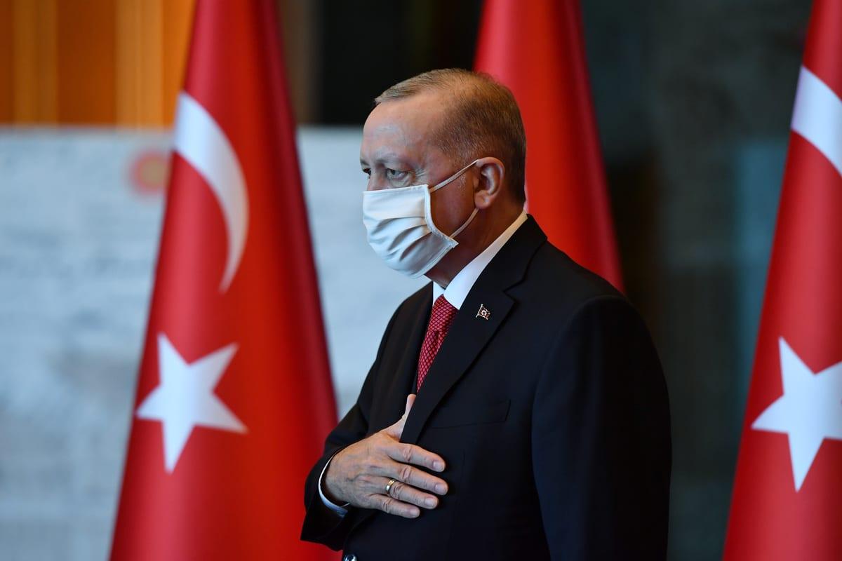 President of Turkey, Recep Tayyip Erdogan seen on the 97th Anniversary of the Republic Day of Turkey at presidential complex in Ankara, Turkey on October 29, 2020 [TUR Presidency/Mustafa Oztartan - Anadolu Agency]