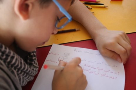 Palestinian children in Gaza writing to Brazilian children to tell them about the situation under blockade, September 2020 [Angela Bastos]