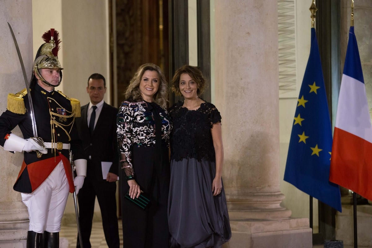 Claudine (L) and Mireille Aoun (R), daughters of Lebanon's President Michel Aoun in Paris, France on 25 September 2017 [Nicolas Kovarik/IP3/Getty Images]