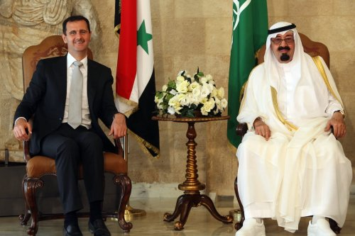 Syrian President Bashar al-Assad meets with Saudi Arabia's King Abdullah at the Presidential Palace in Baabda, east of Beirut, on 30 Friday July 2010. [STR/AFP via Getty Images]