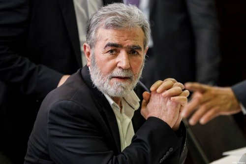 Ziad al-Nakhala, Secretary-General of the Islamic Jihad Movement in Palestine, looks on during a meeting with representatives of other Palestinian factions at the Palestinian embassy in Lebanon's capital Beirut on 3 September 2020 [ANWAR AMRO/AFP via Getty Images]