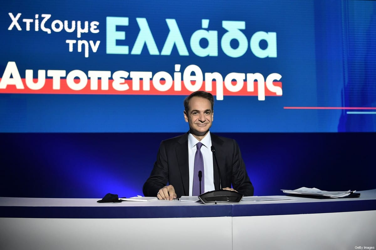 """Greek Prime Minister Kyriakos Mitsotakis speaks during a press conference on state defence, economy programme at the Thessaloniki Helexpo Forum on September 13, 2020. - Greek Prime Minister Kyriakos Mitsotakis on Saturday, announced a """"robust"""" arms purchase programme and an overhaul of the country's military amid tension with Turkey in the eastern Mediterranean. Mitsotakis said Greece would acquire 18 French-made Rafale warplanes in addition to frigates and helicopters whilst also hiring 15,000 new troops and pouring resources into the national defence industry. (Photo by Sakis MITROLIDIS / AFP) (Photo by SAKIS MITROLIDIS/AFP via Getty Images)"""