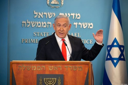 Israeli Prime Minister Benjamin Netanyahu gives a briefing on coronavirus developments in Israel at his office in Jerusalem, on September 13, 2020 [YOAV DUDKEVITCH/POOL/AFP via Getty Images]