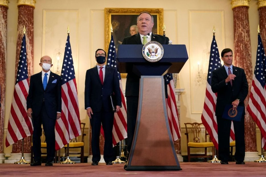 US Secretary of State Mike Pompeo speaks during a news conference to announce the Trump administration's restoration of sanctions on Iran, on 21 September 2020, at the US State Department in Washington,DC. [PATRICK SEMANSKY/POOL/AFP via Getty Images]