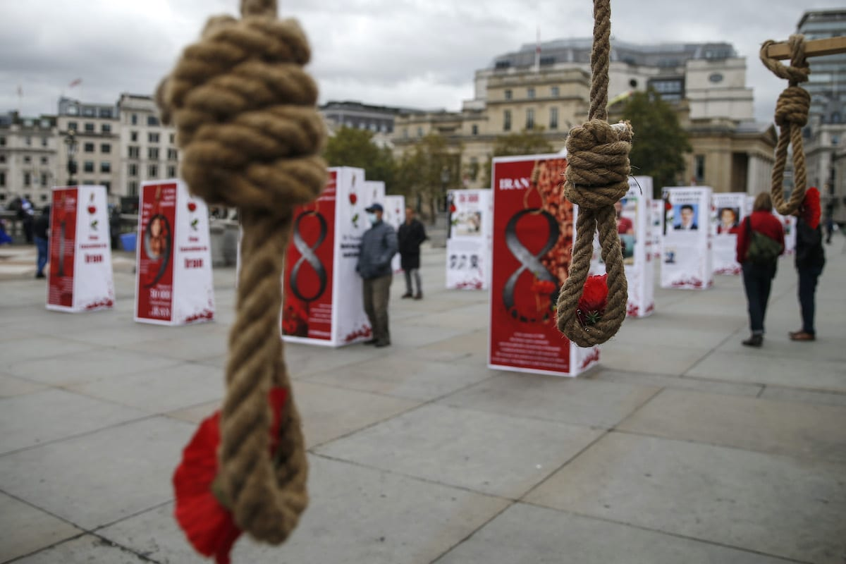 An exhibition on human rights violations in Iran in Trafalgar Square on October 10, 2020 in London, England [Hollie Adams/Getty Images]
