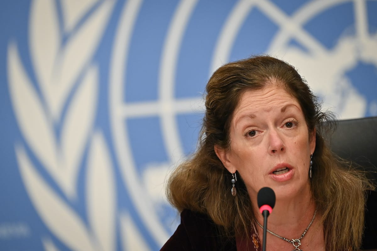 Deputy Special Representative of the UN Secretary-General for Political Affairs in Libya Stephanie Williams attends a press conference on talks between the rival factions in the Libya conflict on 21 October 2020 at the United Nations offices in Geneva. [FABRICE COFFRINI/POOL/AFP via Getty Images]