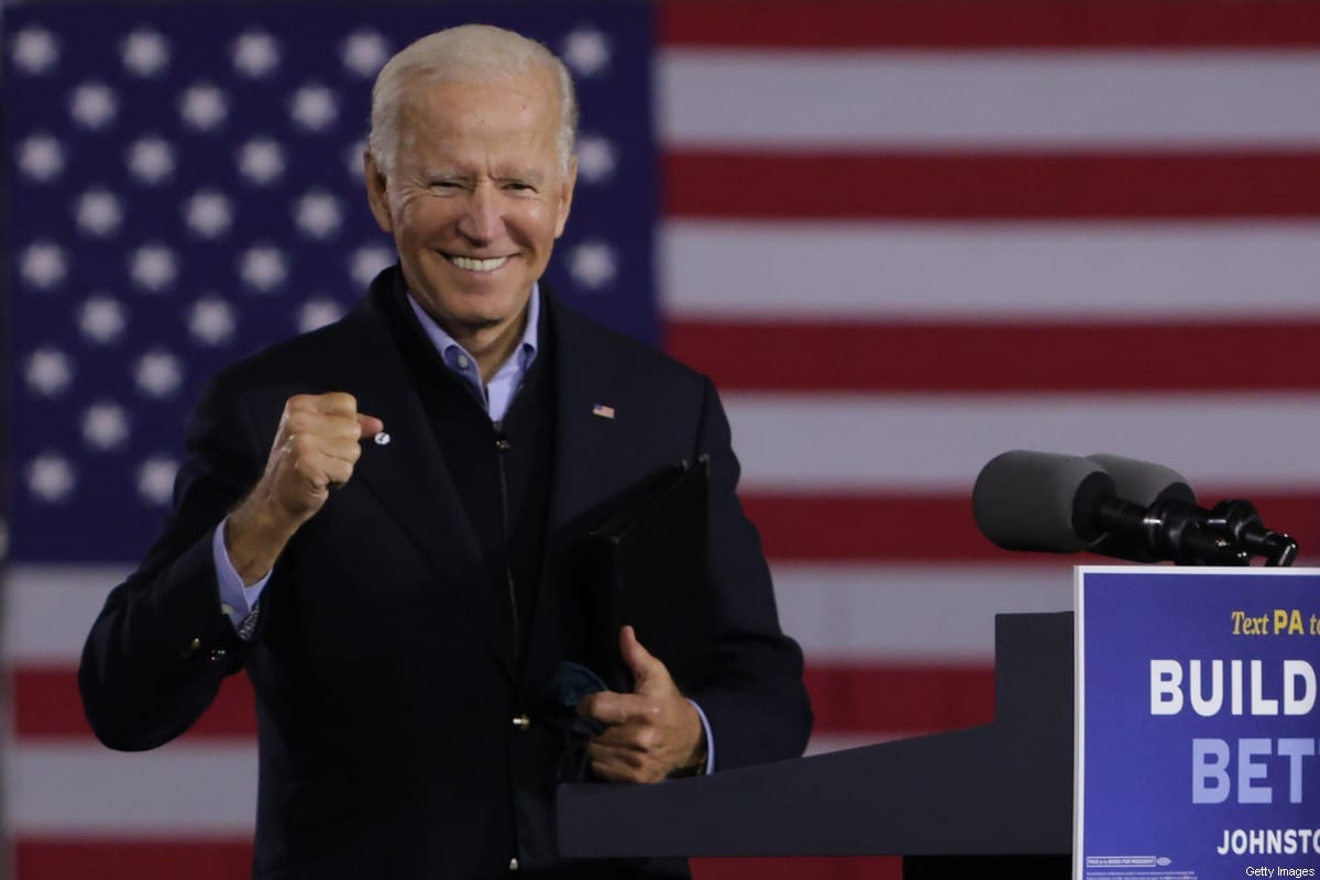 Democratic US presidential nominee Joe Biden during a campaign stop on September 30, 2020 in Johnstown, Pennsylvania [Alex Wong/Getty Images]