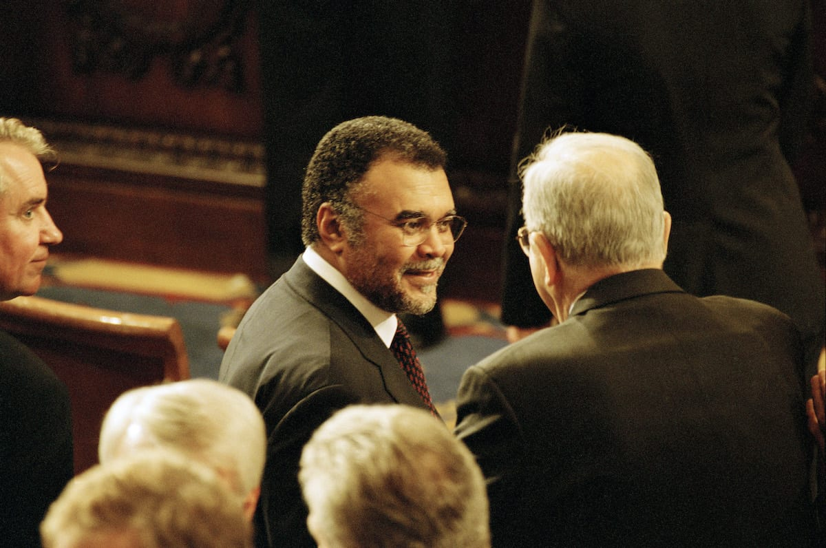 Prince Bandar, Former Saudi Arabian Ambassador to the US talks with a member of the audience September 20, 2001 after President George W. Bush addresses Congress on 20 September 2001 in Washington, DC. [David Hume Kennerly/Getty Images]