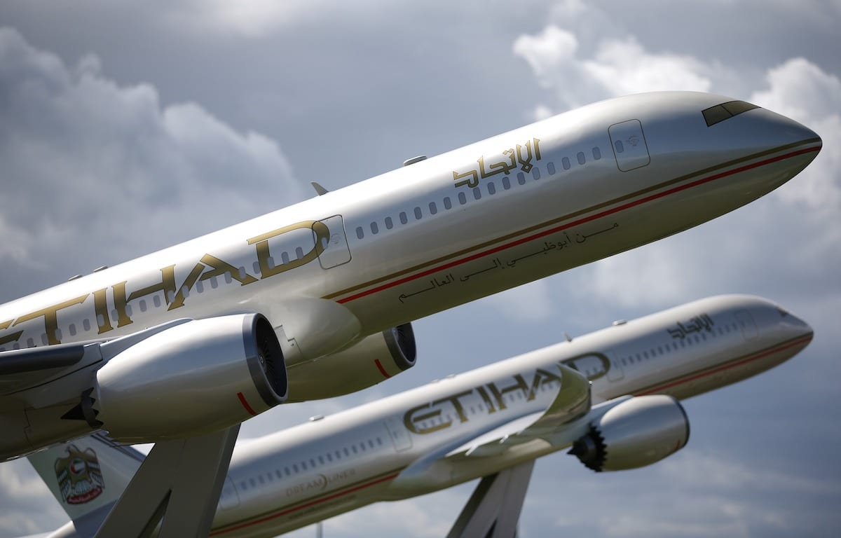 Large scale models of Etihad Boeing 787 Dream Liners are displayed near Terminal Four at Heathrow Airport on 11 August 2014 in London, England. [Peter Macdiarmid/Getty Images]