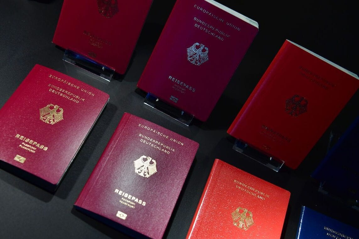 The new German electronic passport is presented during an official press conference on 23 February 2017 in Berlin. [JOHN MACDOUGALL/AFP via Getty Images]