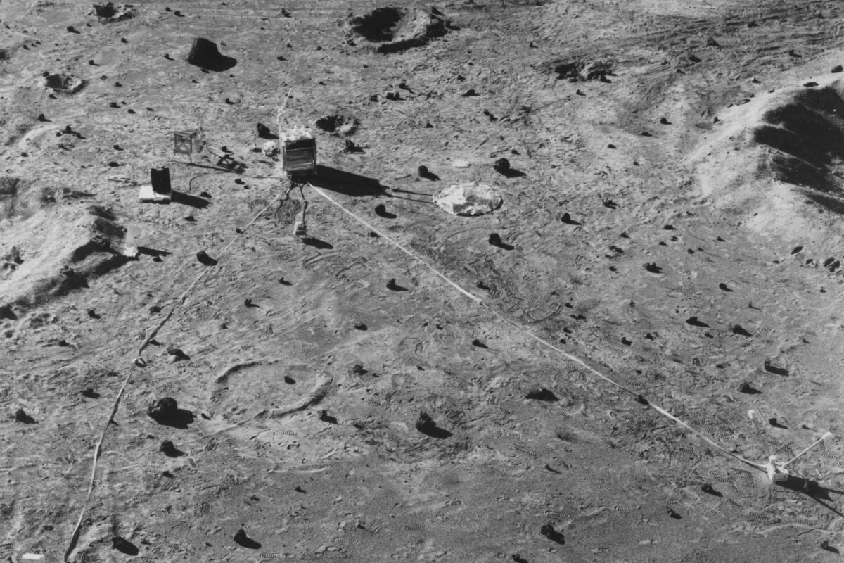 Aerial view of the Apollo Lunar Surface Experiments Package (ALSEP) during a testing phase, late 1960s [NASA/Interim Archives/Getty Images]