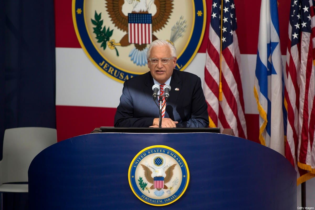 JERUSALEM, ISRAEL - MAY 14: (ISRAEL OUT) U.S. ambassador to Israel David Friedman speaks on stage on during the opening of the US embassy in Jerusalem on May 14, 2018 in Jerusalem, Israel. US President Donald J. Trump's administration officially transfered the ambassador's offices to the consulate building and temporarily use it as the new US Embassy in Jerusalem. Trump in December last year recognized Jerusalem as Israel's capital and announced an embassy move from Tel Aviv, prompting protests in the occupied Palestinian territories and several Muslim-majority countries. (Photo by Lior Mizrahi/Getty Images,)