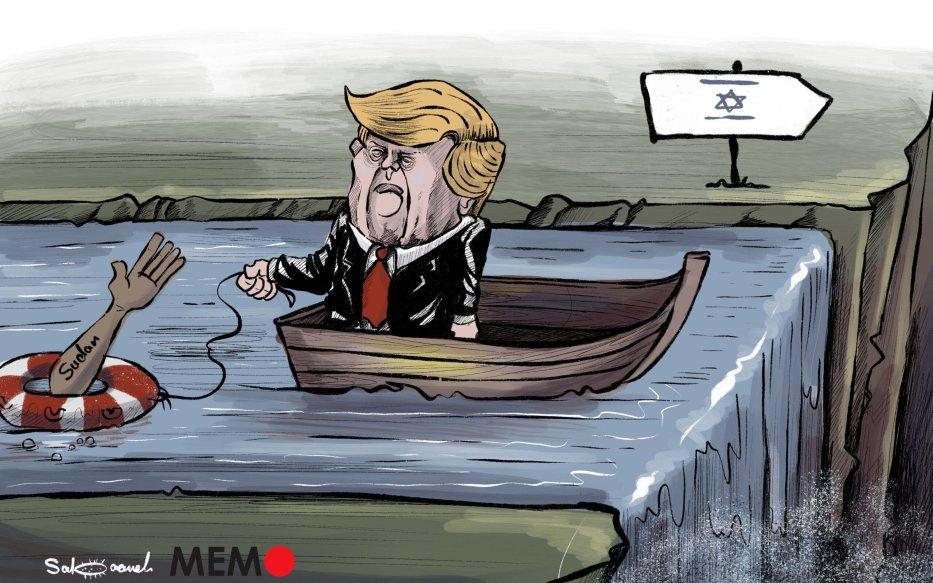 US to remove Sudan from terrorism blacklist if normalises ties with Israel - Cartoon [Sabaaneh/MiddleEastMonitor]