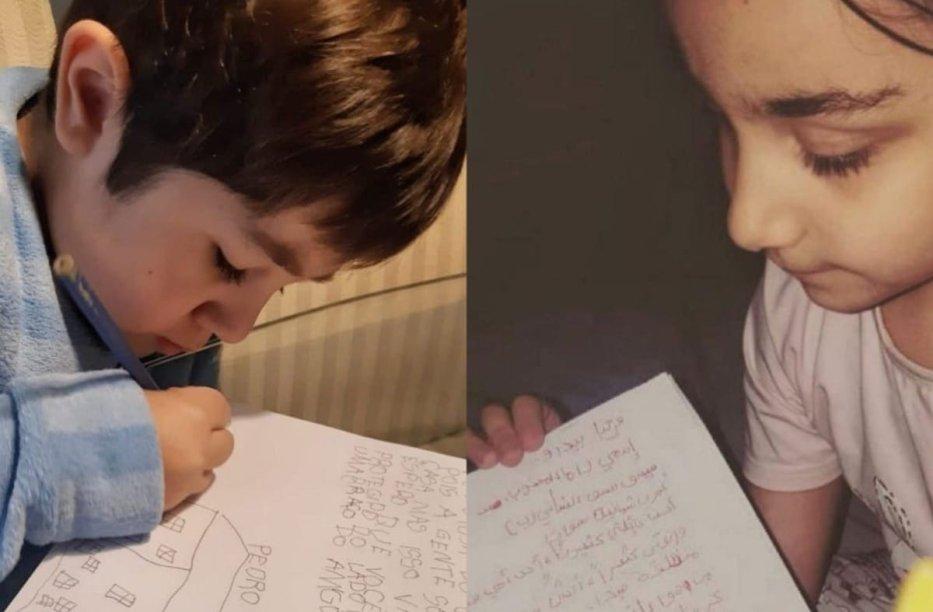 Pedro (left) a Brazilian boy, sent a letter to Rama, a palestinian girl in Lebanon, September 2020 [Angela Bastos]