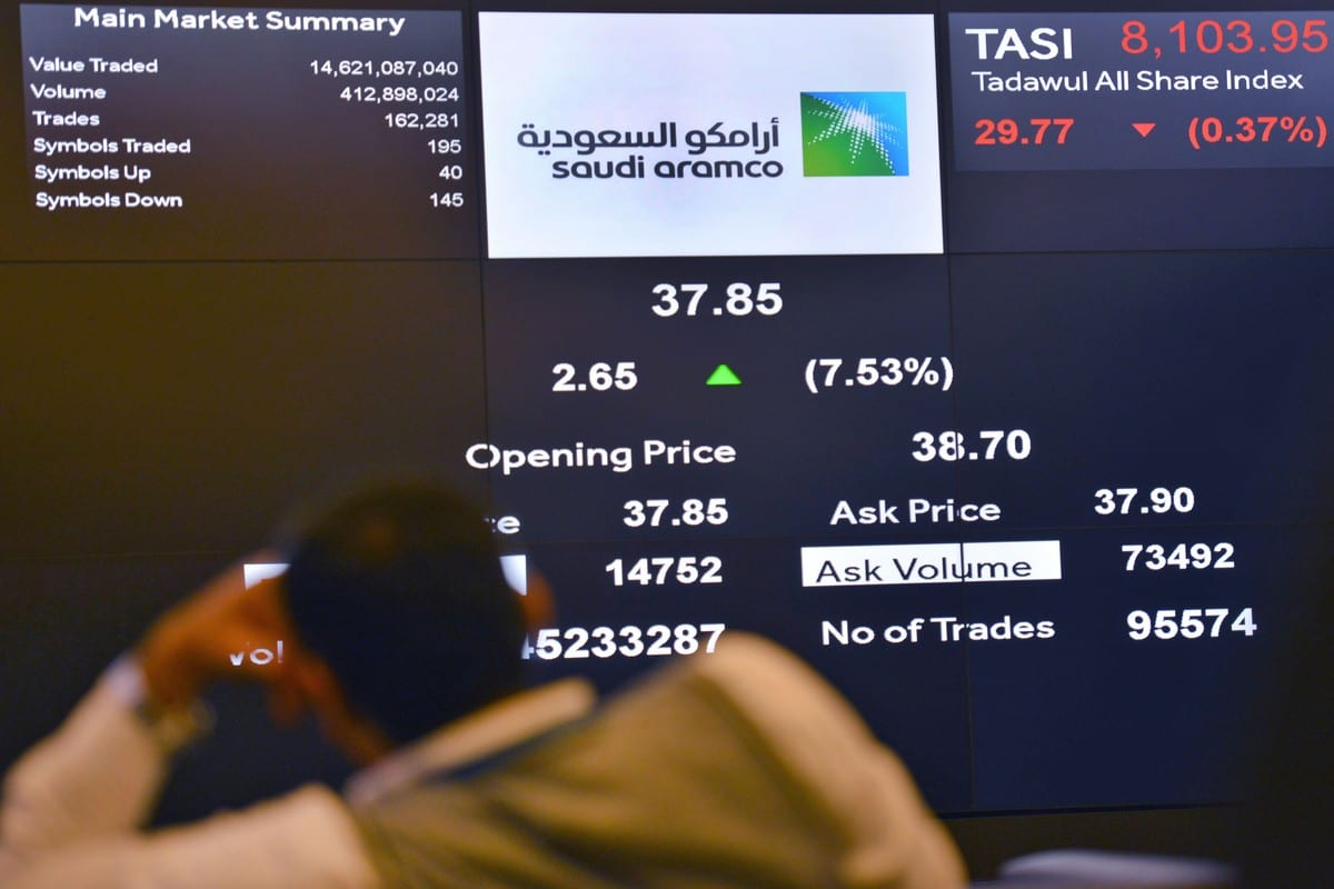 This picture taken December 12, 2019 shows a view of the An exchange board in Riyadh, Saudi Arabia on 12 December 2019 [FAYEZ NURELDINE/AFP/Getty Images]