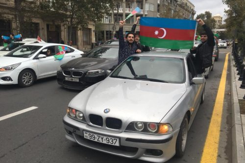 Azerbaijani people celebrate after Shusha city liberated from Armenia's occupation, on 8 November 2020 in Baku, Azerbaijan. [Resul Rehimov - Anadolu Agency]