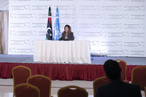 Stephanie Williams, head of the UN Support Mission in Libya (UNSMIL) at the Libyan Political Dialogue Forum, on 16 November 2020 [Yassine Gaidi/Anadolu Agency]