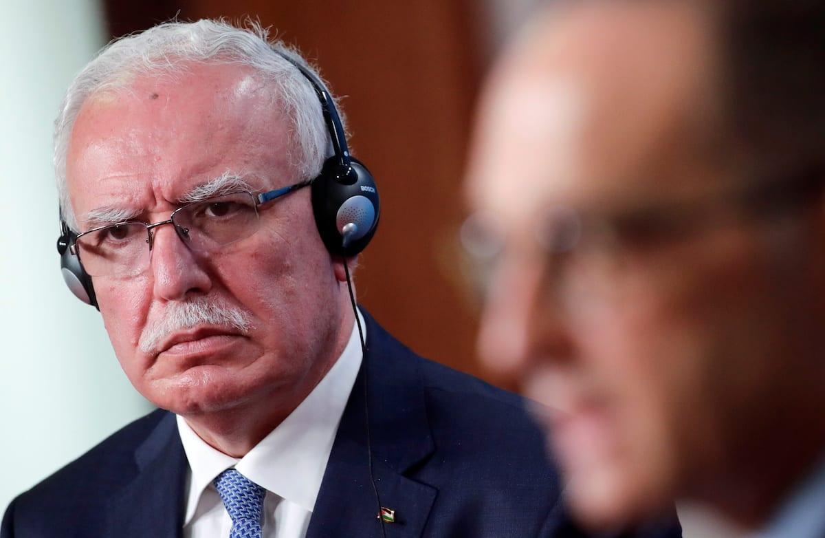 Palestinian Foreign Minister Riyad Al-Maliki in Berlin, Germany 17 November 2020 [REUTERS/Hannibal Hanschke/Pool/Anadolu Agency]