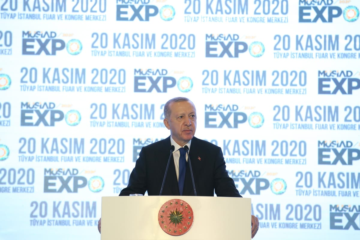 Turkish President Recep Tayyip Erdogan in Istanbul, Turkey on 20 November 2020 [Murat Kula/Anadolu Agency]